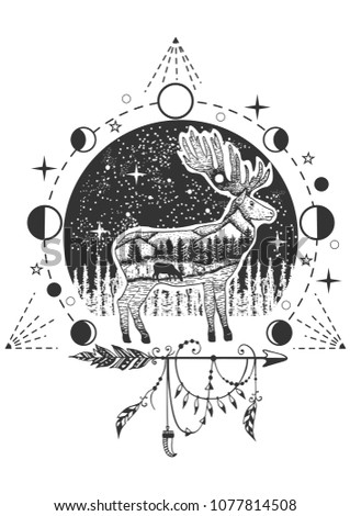 Vector animal tattoo or t-shirt print design. Elk combined with nature, geometric pattern, moon phases and boho elements.