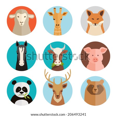 vector animals avatars collection in flat style
