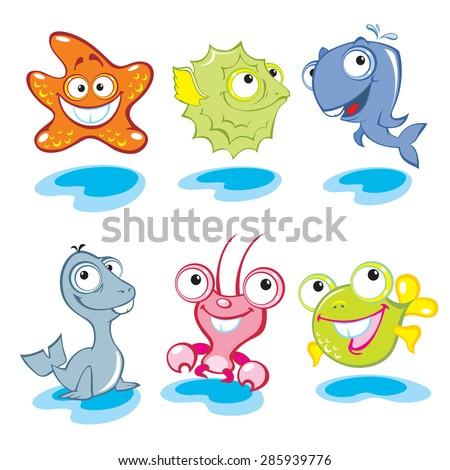 Vector animals. Big eyes animals. Cute animals. Sea world.
