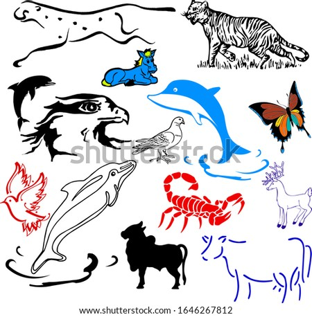 vector animals collection: farm animals, wild animals, marina animals isolated on white background. Vector illustration design template
