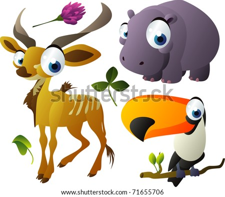 vector animals: kudu, hippopotamus, toucan