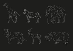 Vector animals of Africa on a black background. Set of geometric low poly illustrations in origami style.