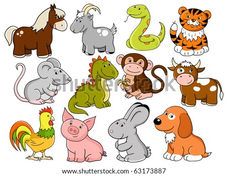 Vector animals - symbols of chinese horoscope - stock vector