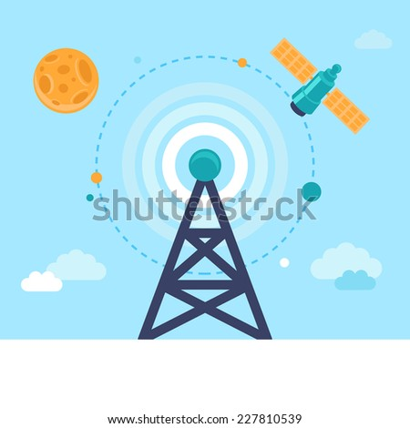 Vector antenna tower and satellite icons in flat style - global communication concept