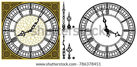 vector antique old clock with