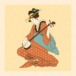 Vector Antique Style Japanese Geisha Illustration Isolated