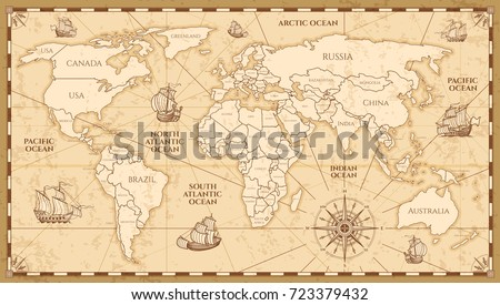 Vintage world map vector download free vector art stock vector antique world map with countries boundaries antique world vintage map grunge america and gumiabroncs Images