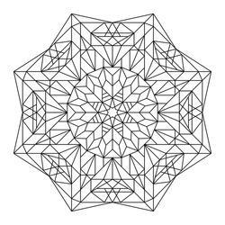 Vector antistress coloring book with geometric mandala.