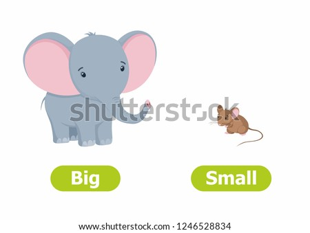 Vector antonyms and opposites. Cartoon characters illustration on white background. Card for children сan be used as a teaching aid for a foreign language learning. Big and Small. Stockfoto ©