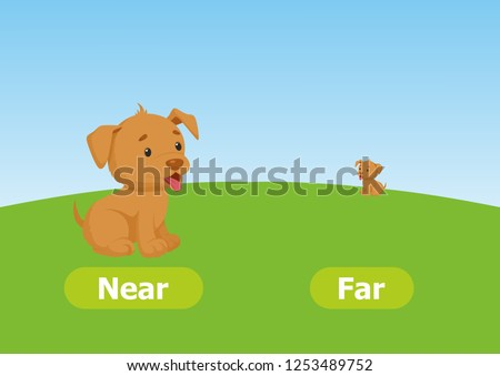Vector antonyms and opposites. Near and Far. Cartoon characters illustration on white background. Card for teaching aid, for a foreign language learning.