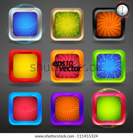 Vector app application icon glossy copyspace set group of nine eps10 glossy emblems