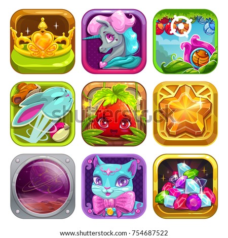 vector app icons set cute