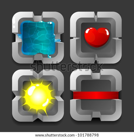 Vector app icons set of metal frames with objects inside