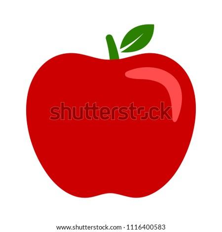 vector apple fruit illustration, fresh healthy food - organic natural food isolated
