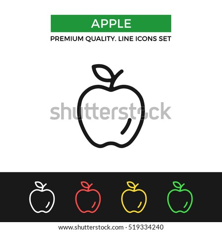 Vector apple icon. Premium quality graphic design. Modern signs, outline symbols collection, simple thin line icons set for websites, web design, mobile app, infographics