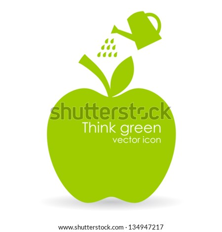 Vector apple illustration, growth symbol