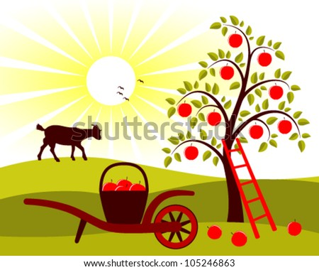 vector apple tree and hand barrow with basket of apples - stock vector