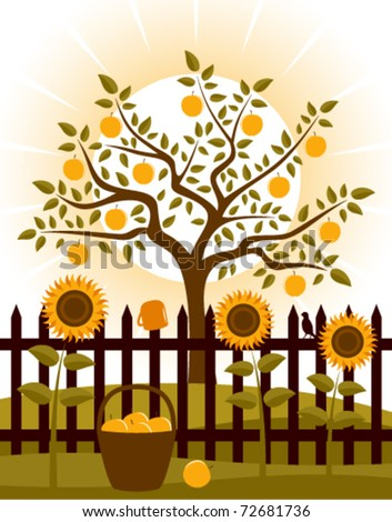 vector apple tree and picket fence with sunflowers