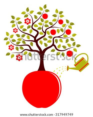vector apple tree in two