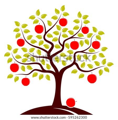 vector apple tree isolated on