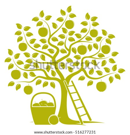 vector apple tree  ladder and