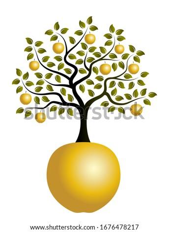 vector apple tree with golden