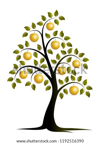 vector apple tree with golden