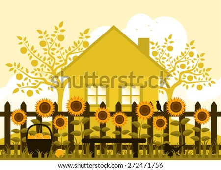 vector apple trees  cottage and