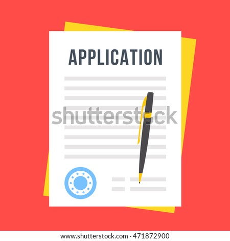 Vector application form. Documents with stamp and pen
