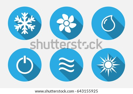 Vector application Heating and Cooling Icons set in flat style with long shadows
