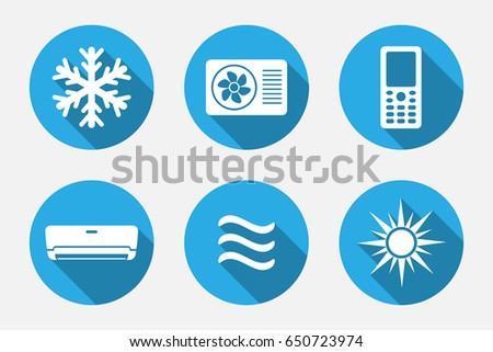heating cooling icon. vector application heating and cooling icons set in flat style with long shadows icon