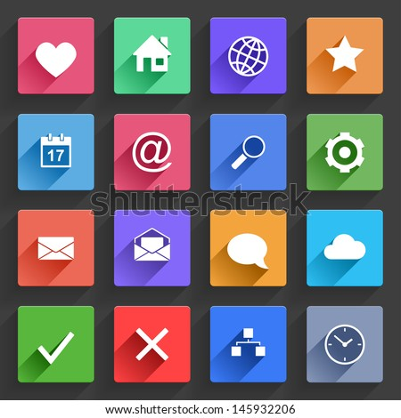 Vector Application  Web Icons Set in Flat Design with Long Shadows