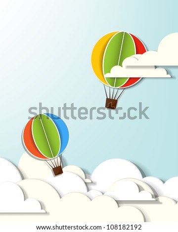 Vector applique with two hot air balloons in the clouds - stock vector