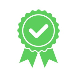 Vector approved flat icon isolated on white background. Certified medal icon in flat design. Vector illustration.