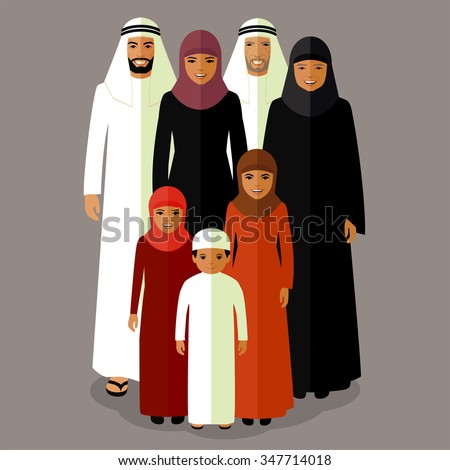 vector arab family, muslim people, saudi cartoon man and woman