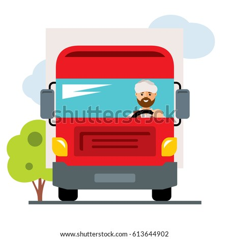 Vector Arab truck driver. Flat style colorful Cartoon illustration.