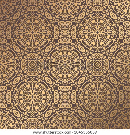 Vector arabesque pattern. Seamless flourish background with golden floral elements. Intricate ornate lines. Arabic decorative design. Square tile. Symmetrical ornament. Oriental illustration.