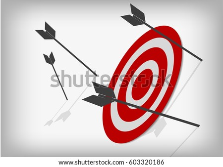Vector : Archery targets and missed arrows on gray background