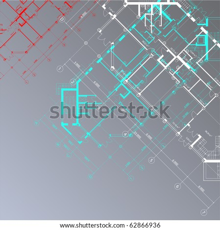Vector  architectural background with plans of buildings on the gray square background (see jpg version in my portfolio)