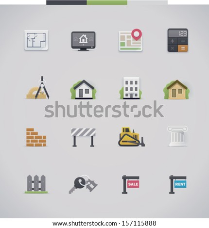 Vector architecture, real estate and construction icon set