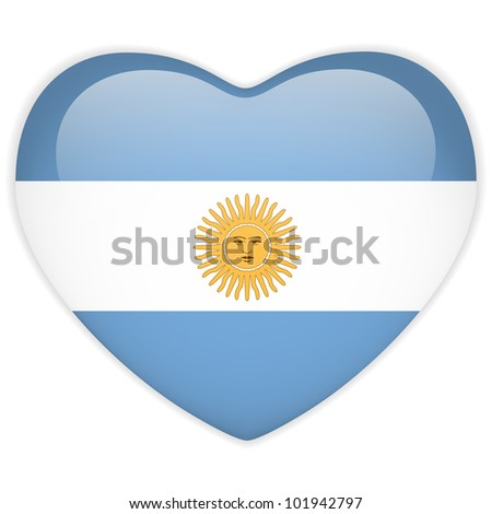 Vector - Argentina Flag Heart Glossy Button