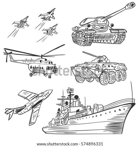 vector army vehicles sketch set