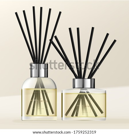 Vector Aromatic Diffuser with Pastel Yellow Scented Oil & Black Reeds Stock foto ©