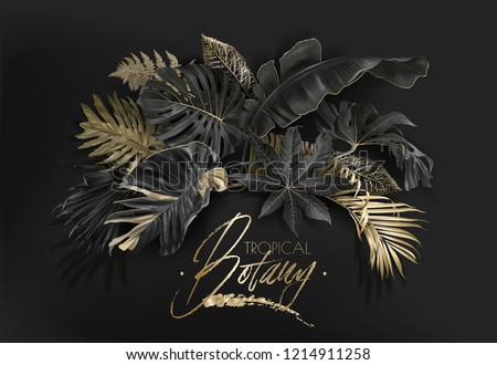 Vector arrangement with black and gold tropical leaves on dark background. Luxury exotic botanical design for cosmetics, spa, perfume, aroma, beauty salon. Best as wedding invitation card