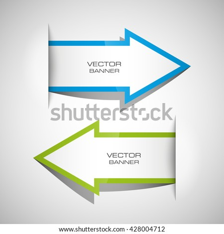 Vector Arrow banners set. Direct shape. 3d Abstract Background. Business infographic presentation diagram. Section compare service. Up and down trend. Paper index. Exact pointer