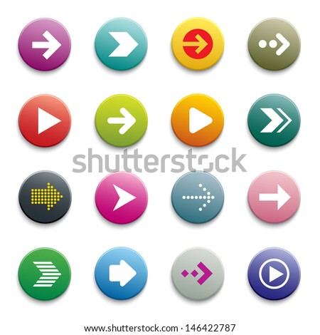 vector arrow button set