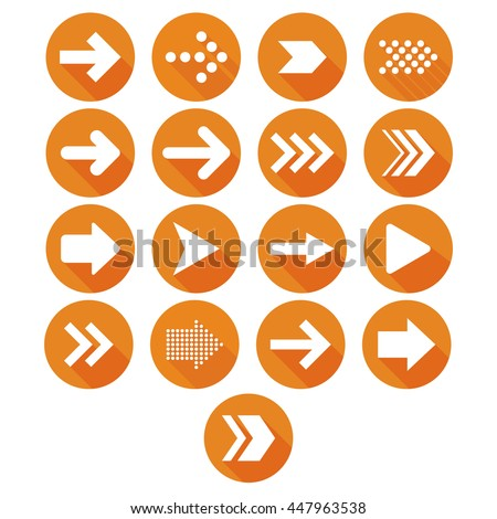Vector arrow icon set orange #447963538