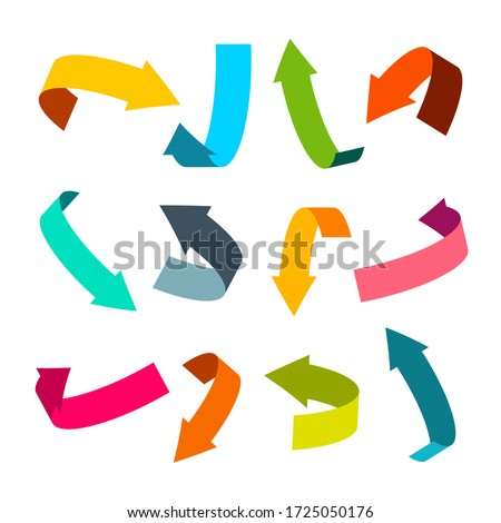 Vector Arrow Icons. Colorful 3D Arrows Isolated on White Background.
