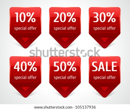 Vector arrow sale stickers set. Transparent shadow easy replace background and edit colors.
