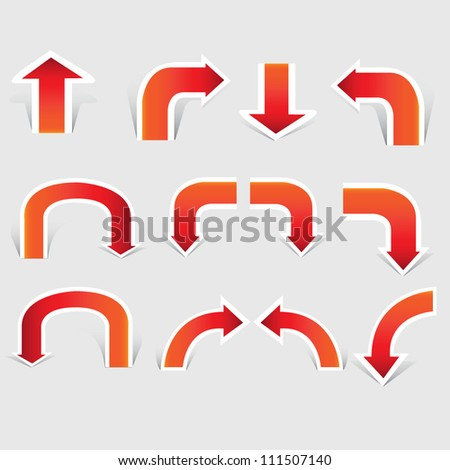 vector arrow set, paper cut, red arrow